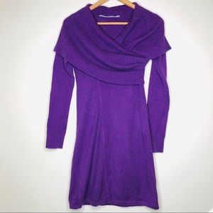 Athleta Sochi Sweater Dress Purple Cowl Neck Midi